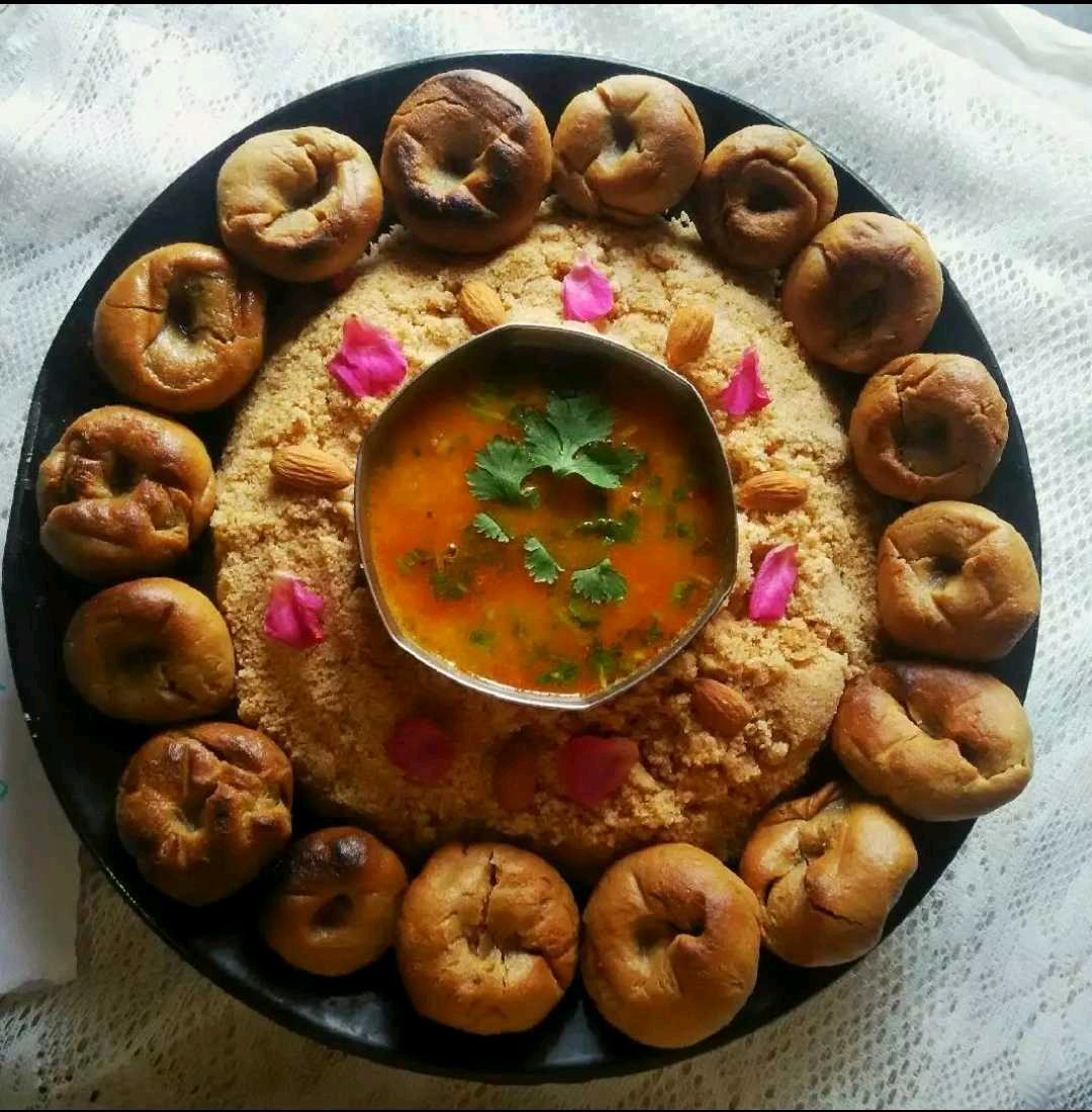 Daal bati Churma (Traditional Cuisine Of Rajasthan Loaded Of Ghee)