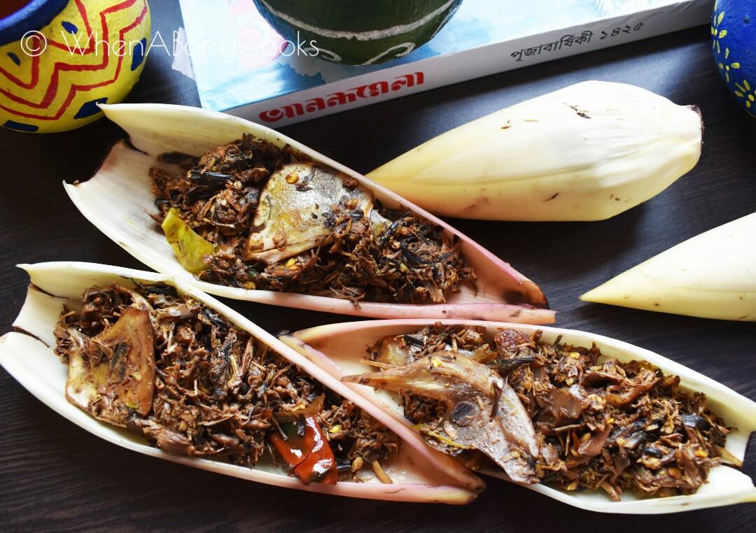 Macher Matha diye Mochar Ghonto (Plantain Flower / Banana Flower cooked with Fish Head)