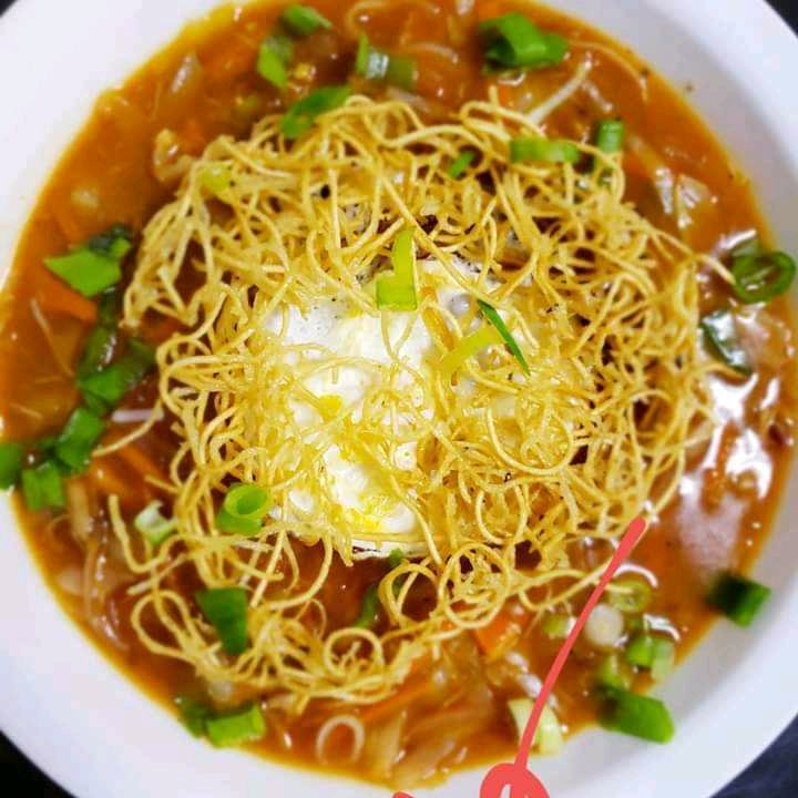 Veg Manchow Soup With Cheese