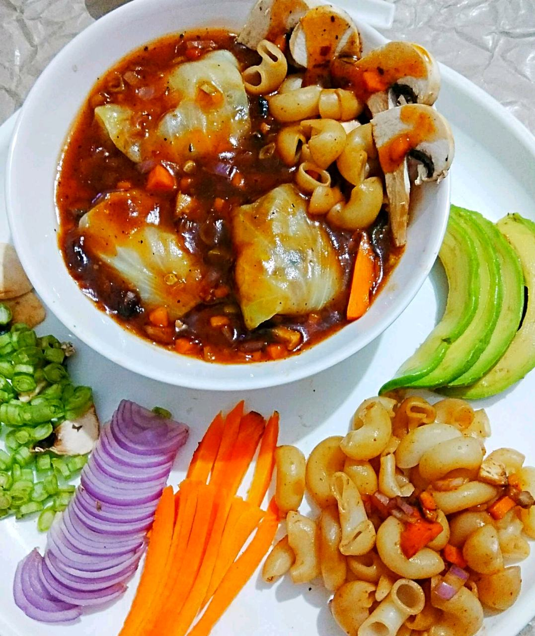 Pasta Cabbage Roll In Veg Munchow Soup