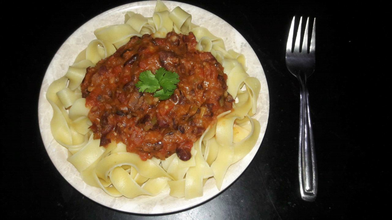 Pasta with bean bolognese