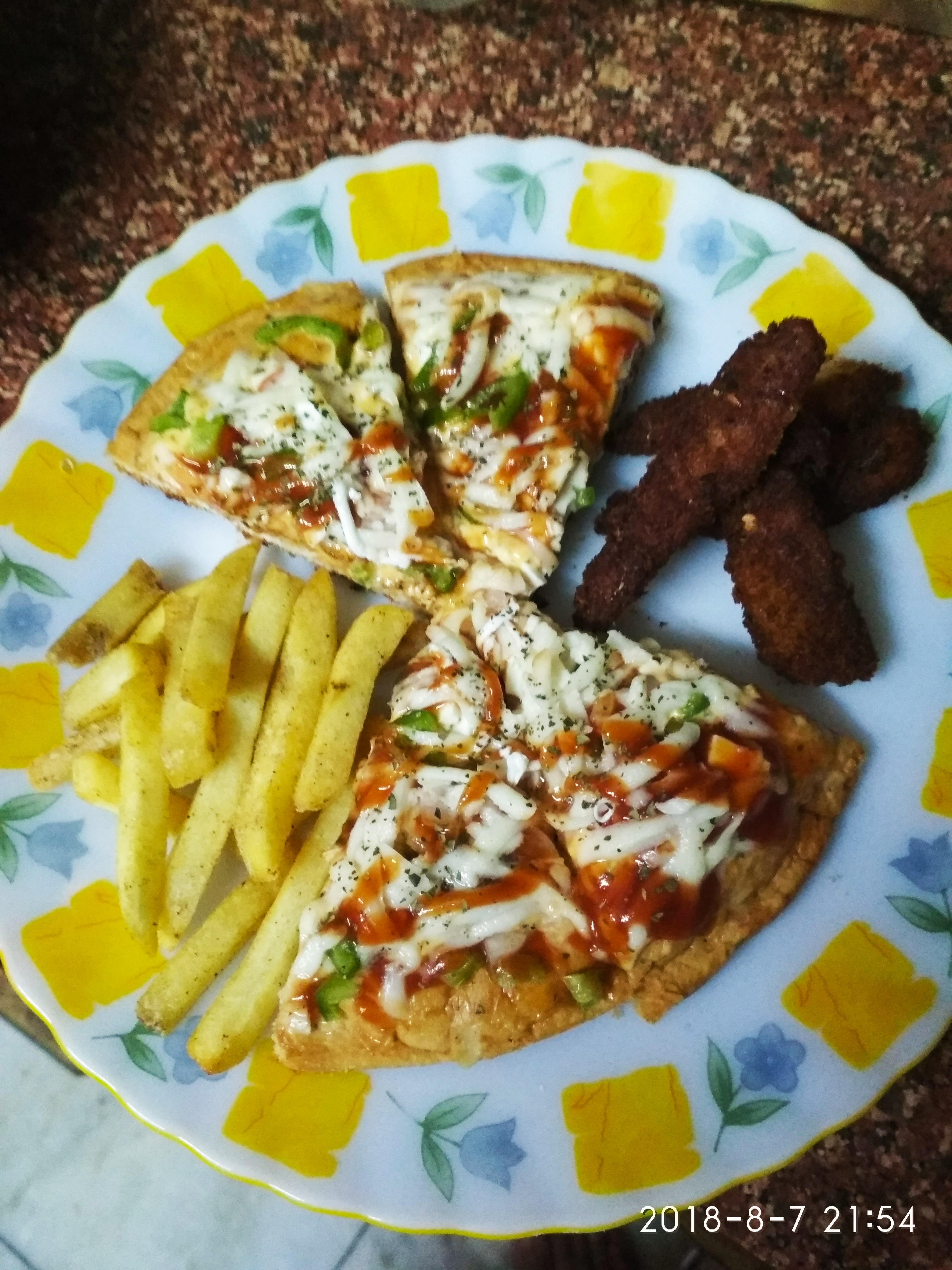 Cheesy pizza with some fish and finger feies