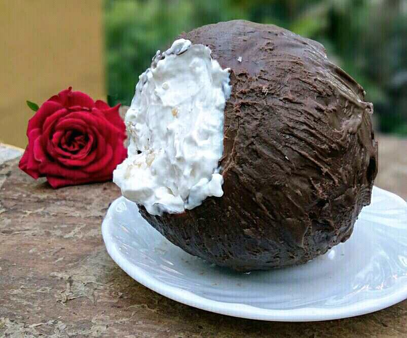 Coconut Mousse in Edible Chocolate Coconut Shell