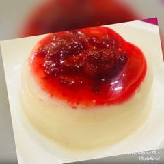 Whosayna's Pannacotta topped with Strawberry Sauce