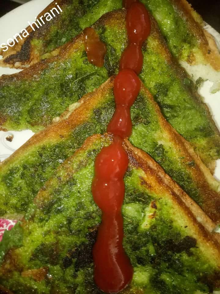 Spinach green toast