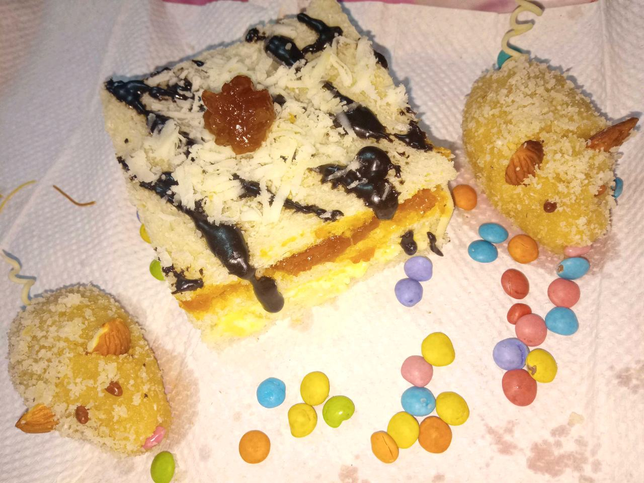 Cheese Sandwich With Mouse Dessert