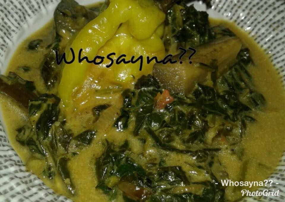 Brinjal n spinach in coco cream