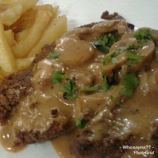 Whosayna's Pepper Steak topped with Mushroom Sauce