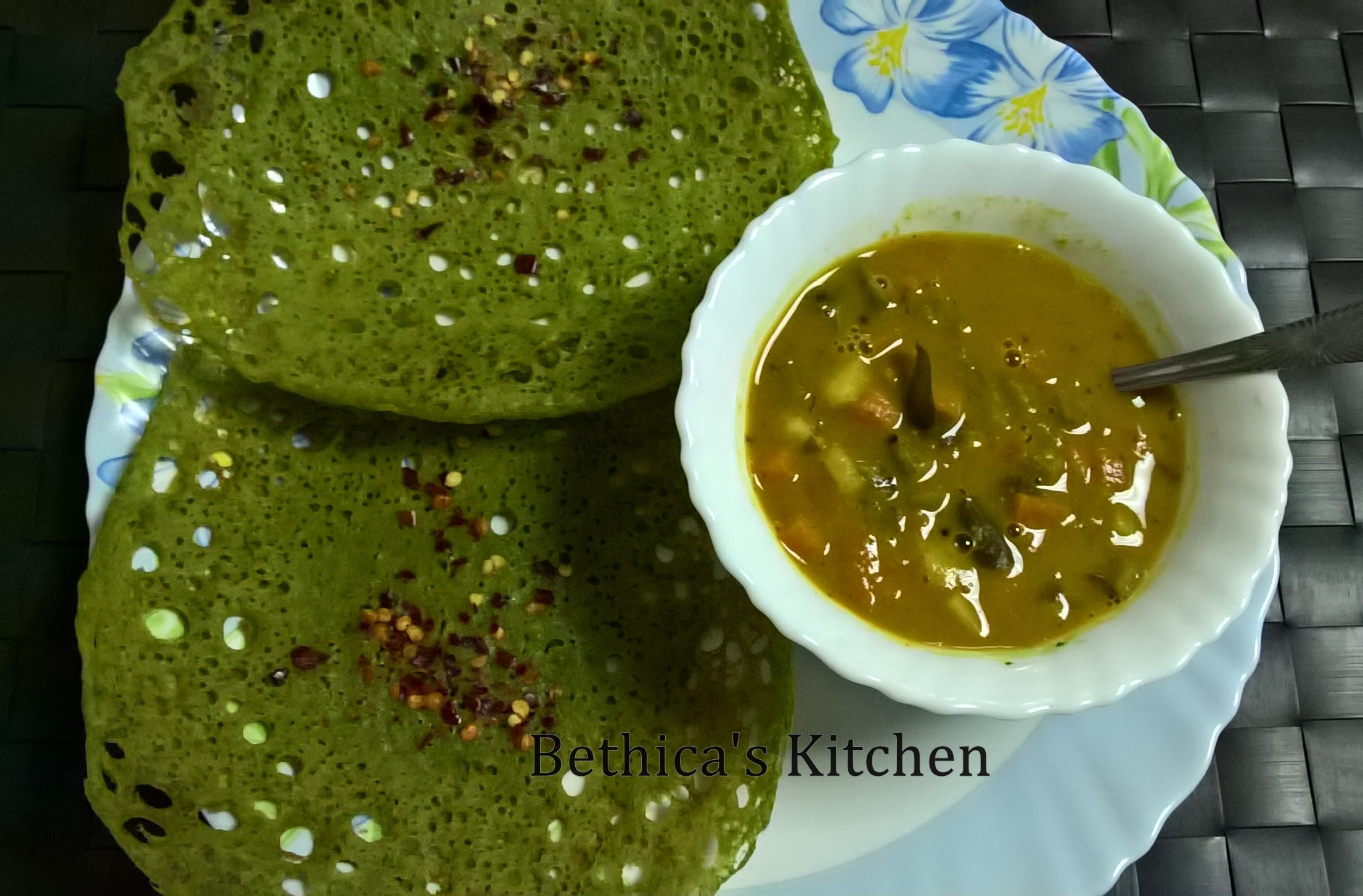 Instant Spinach Appam