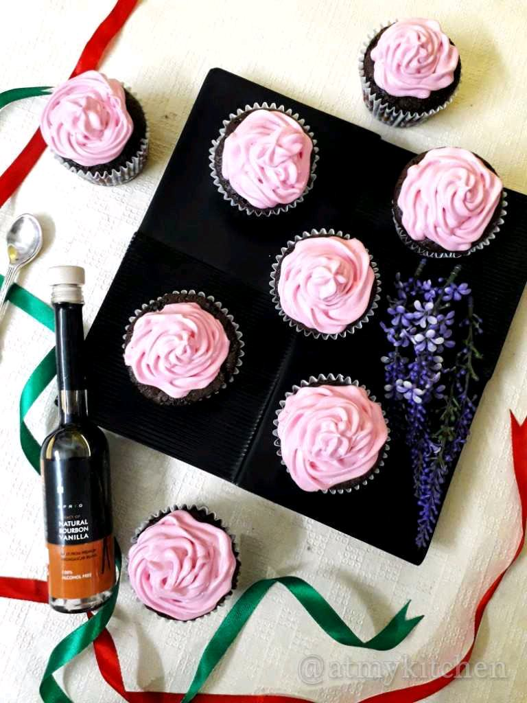 Chocolate Caramel Cupcakes With Strawberry Frosting