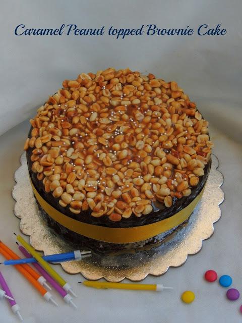 Caramel Peanut Topped Brownie Cake