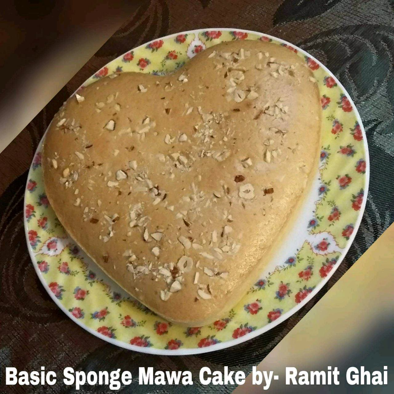 Basic Sponge Mawa Cake....This is so innovative cake...every ingredient here is so rich in itself....kaju powder,milk powder, mawa,milkmaid cashew nut pieces n so all...must try