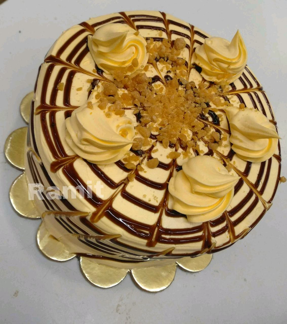 ButterScotch Cake With ButterScotch Frosting.....(Rich Royal Cake,Loaded With Butterscotch Chips)