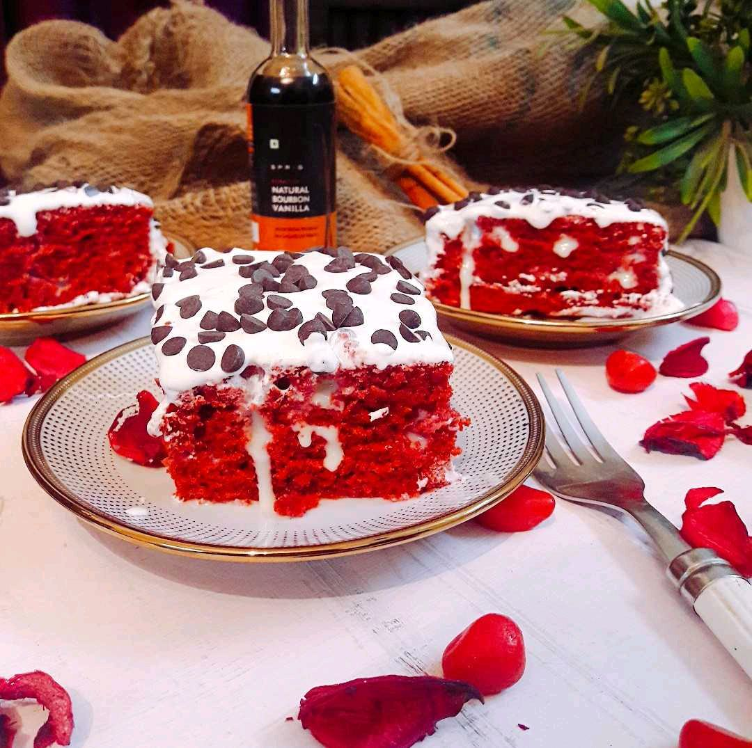Red Velvet Poke Cake With Cream Cheese Icing