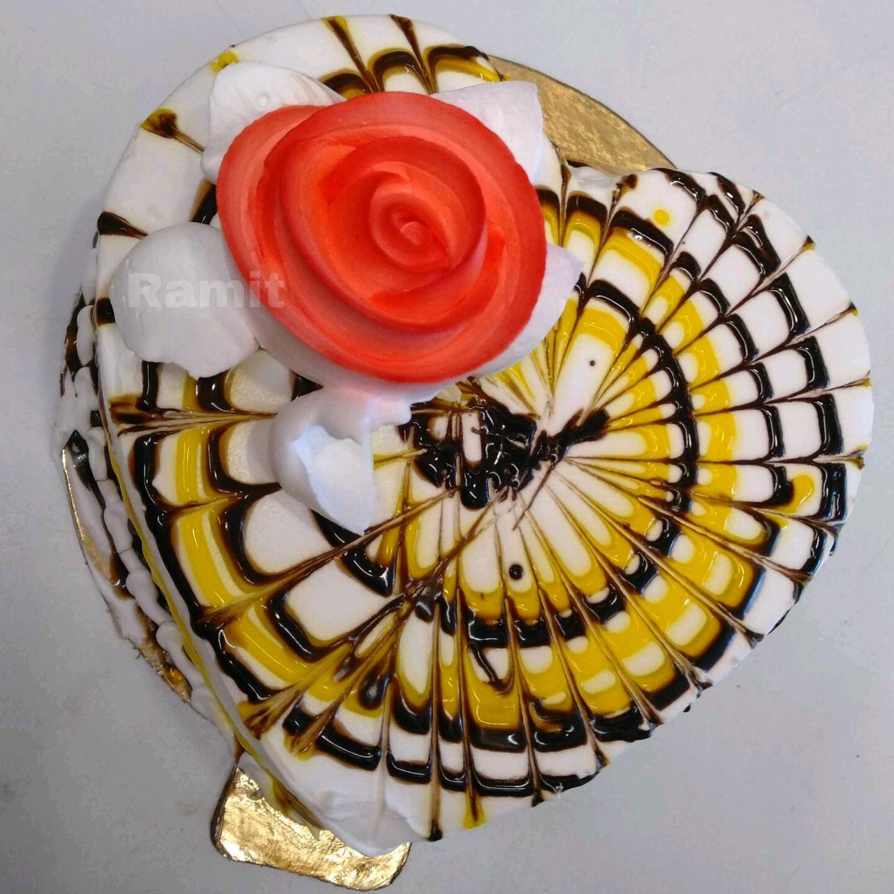 Caramel Cake Topped With Chocolate,Pineapple Glaze