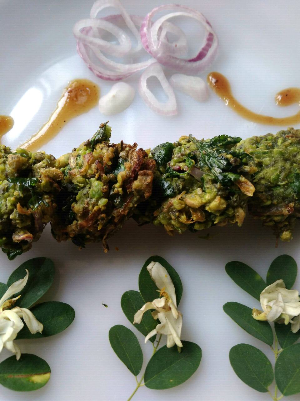 Green Chickpeas And Drumstick Flowers Fritters