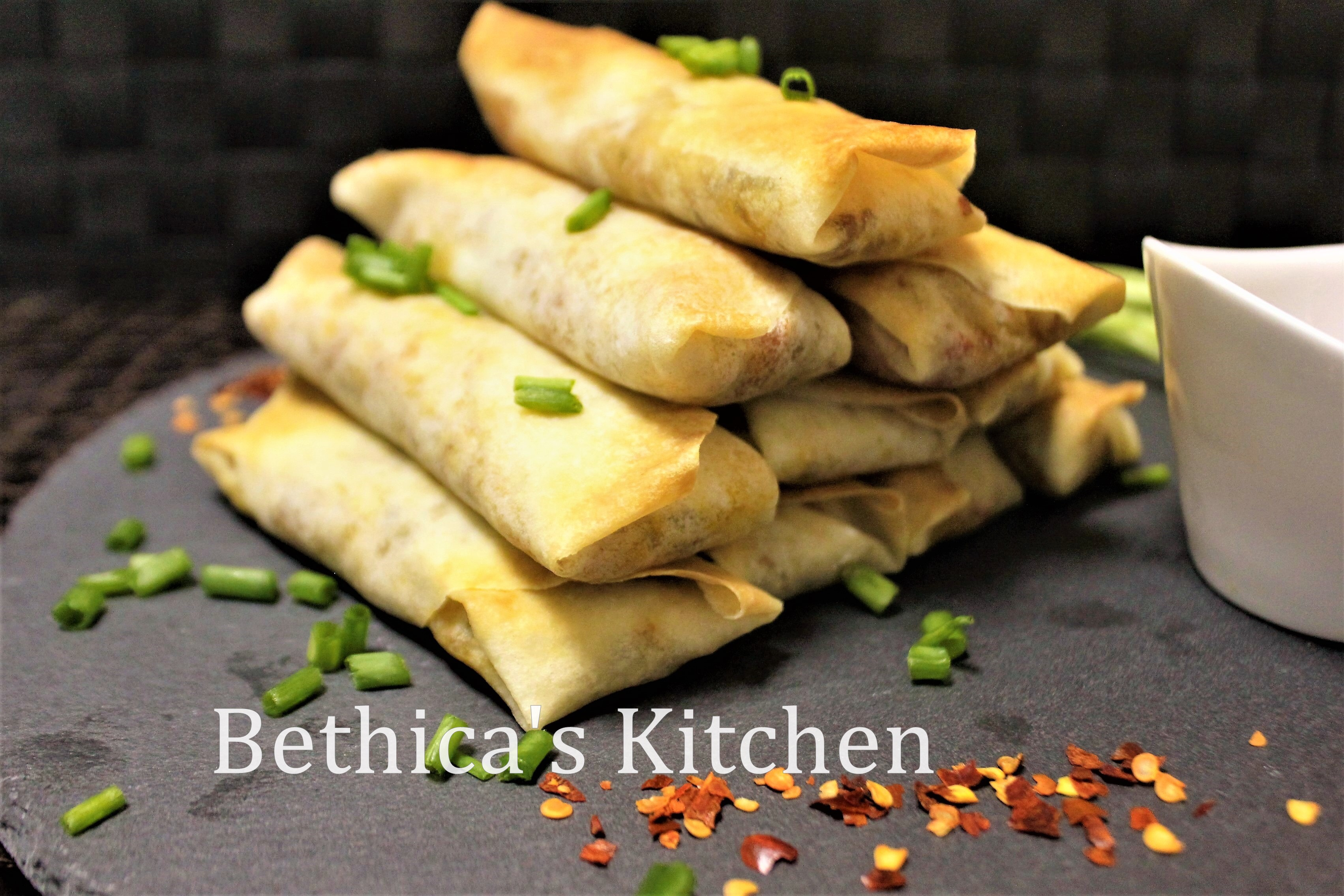 Baked Veggie Spring Rolls with Indian Fusion Style