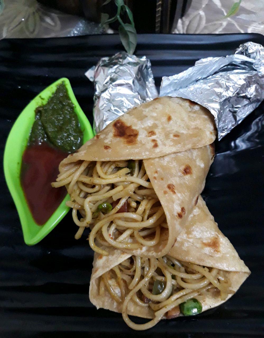 Chutney Noodles Paratha Wrap