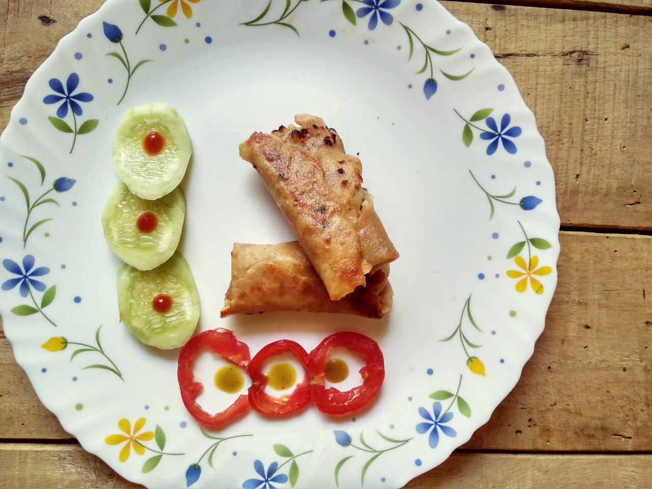 Chicken Spring Roll Wrapped With Thin Portion Of Roti
