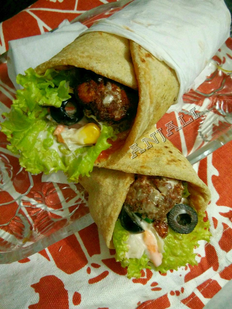 Multigrain Wrap with colocasia, soya and corn kabab