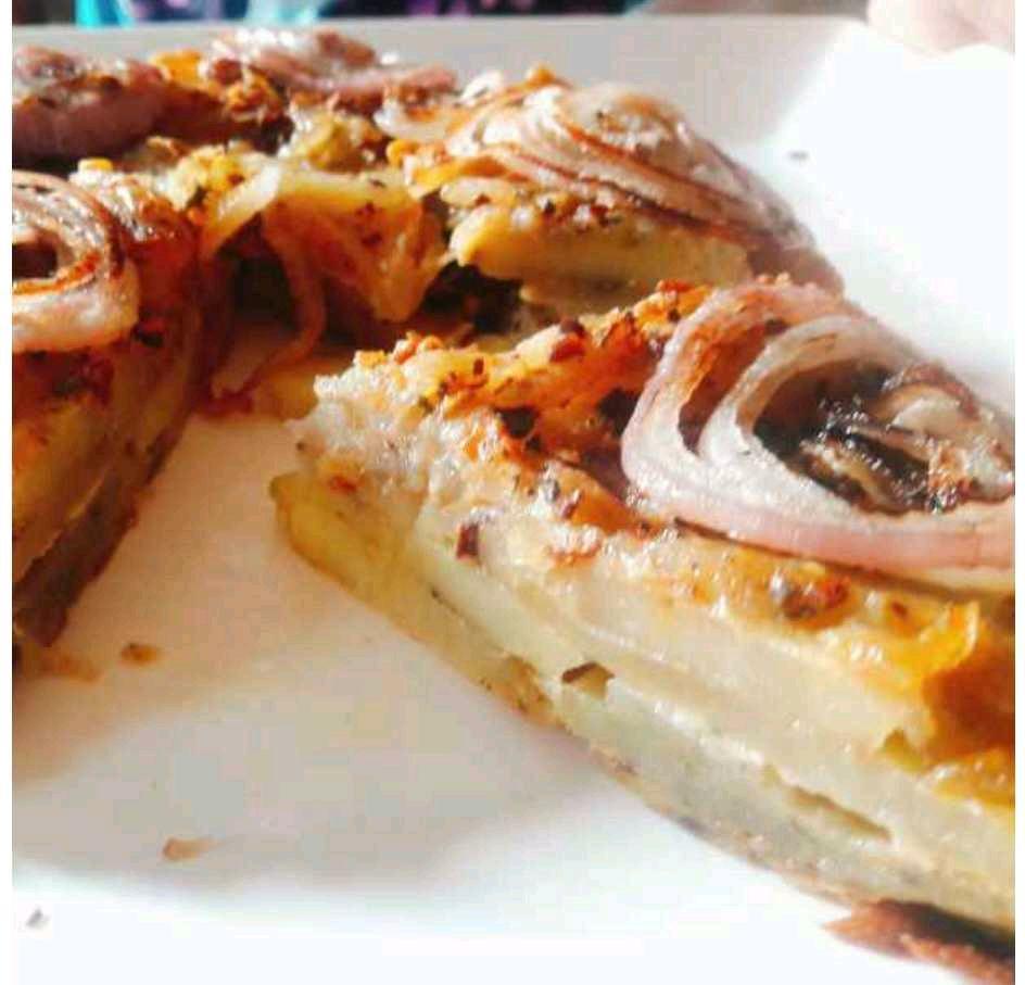 Up Side Down  Onion Potato Savoury Pie