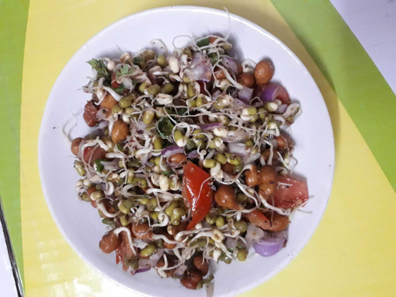 Sprouted Moong And Black  Gram Salad.