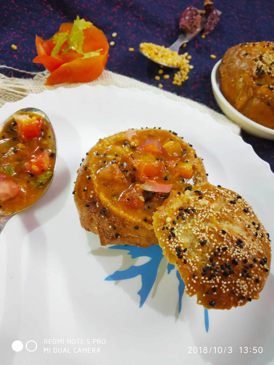Pretzel Buns Filled In Tomato Kootu