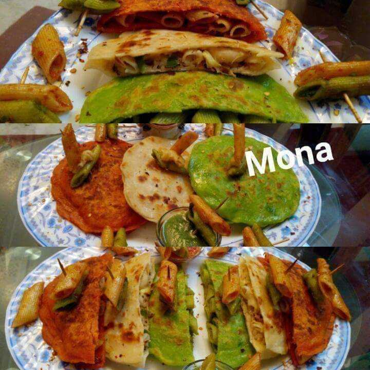 Tricolour Stuffed Pasta Parathas