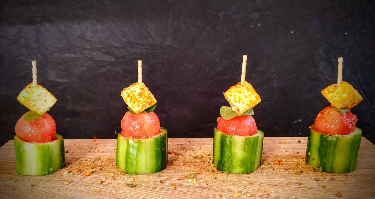 Cucumber Watermelon Paneer Appitizer