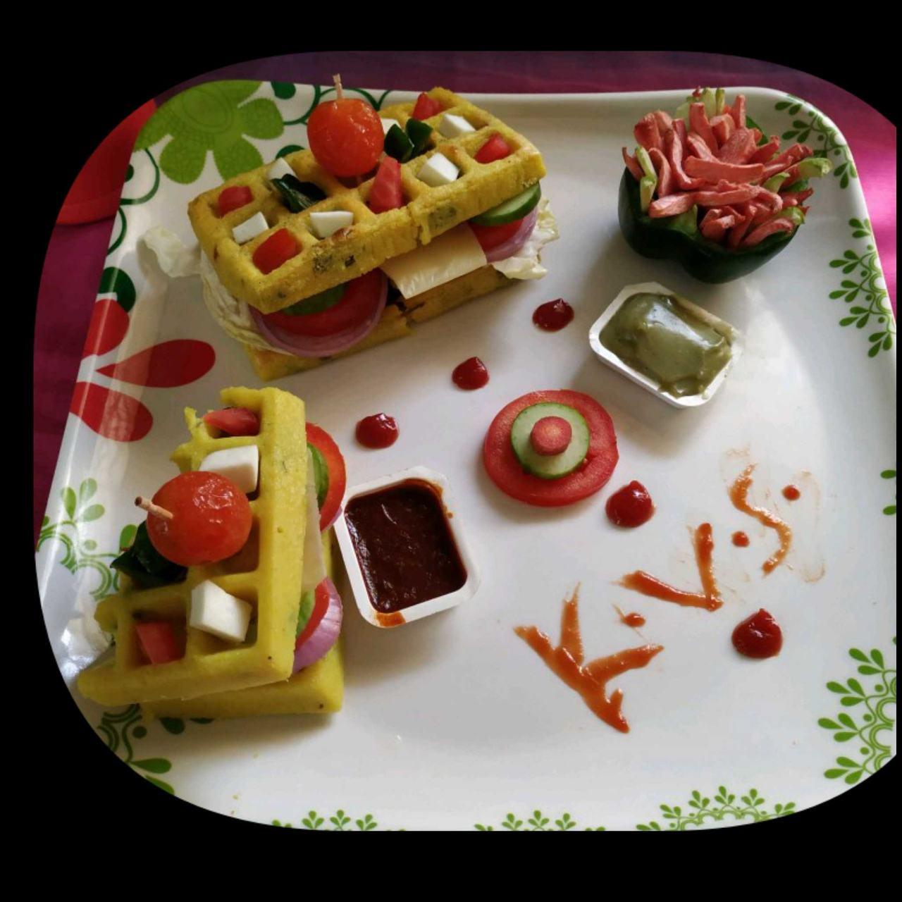 Dhokla Waffles Sandwich