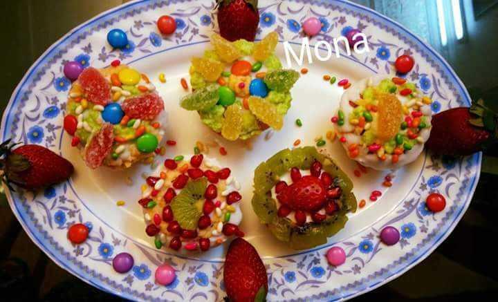 Tricolour  Fruits Cupcakes🍓🥝🍇🍊🍎