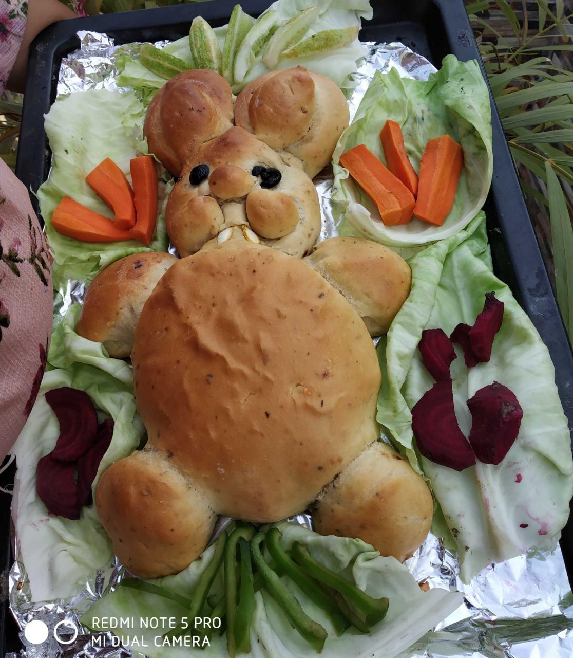 Baked Bunny Shaped Herbs Bun With Fresh Salad