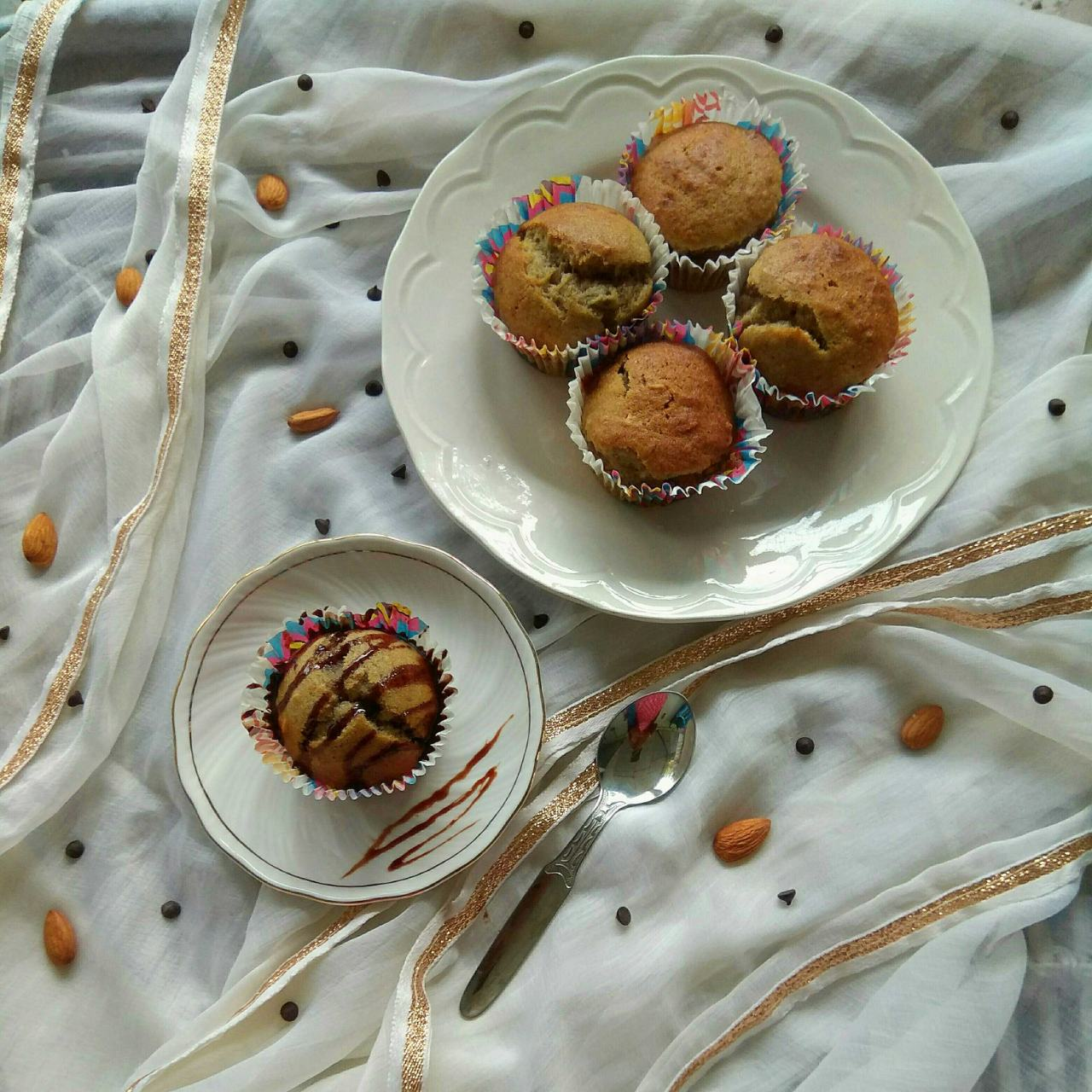 Eggless Whole Wheat Banana Muffins with Dry Fruits