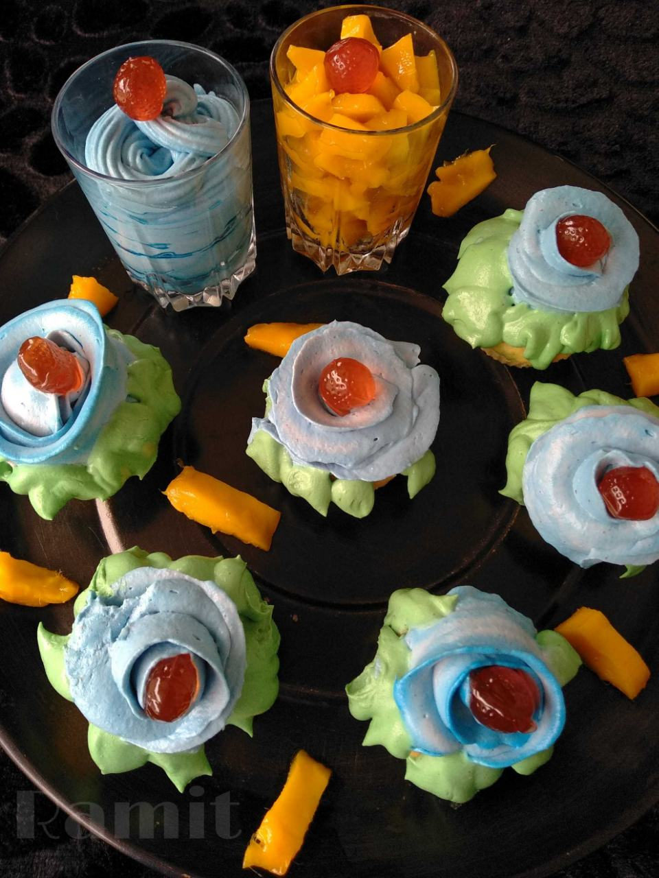 Killer CupCakes ( Mango Cupcake with Mango Blue Curacao Frosting)