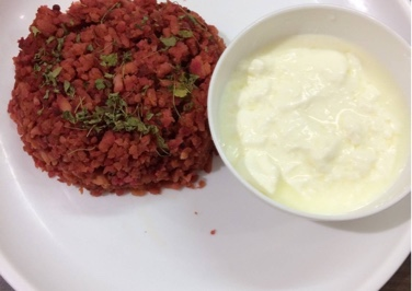 Beetroot Poha with sweet and sour curds