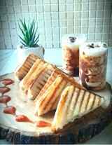 Spinach Mushroom grilled sandwich with cold coffee