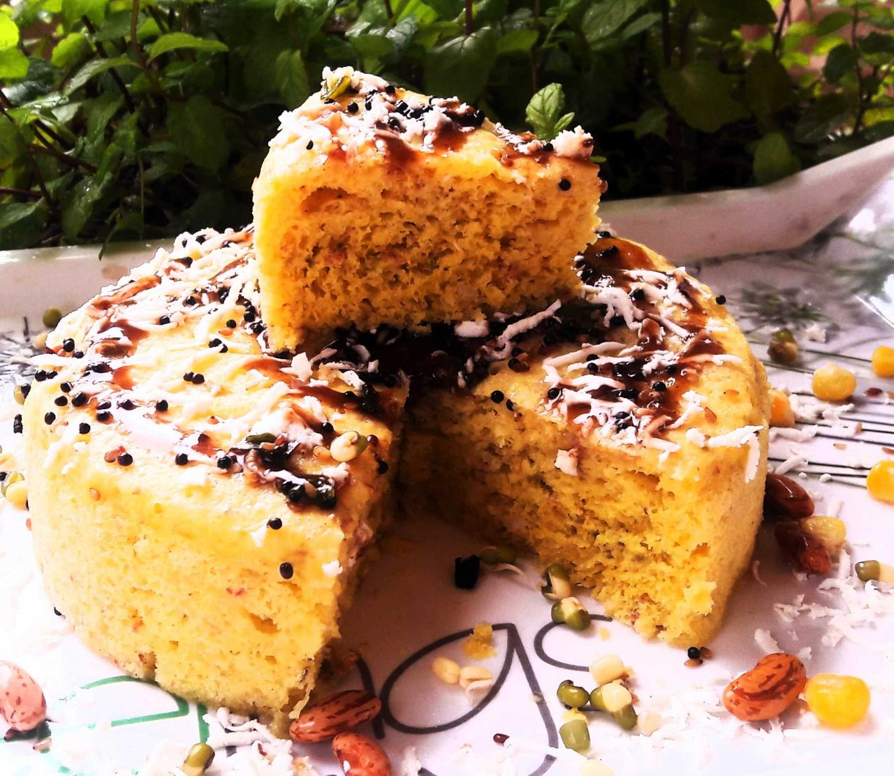 Mexican Moong Dhokla ( Zero Oil Steamed Dhokla )