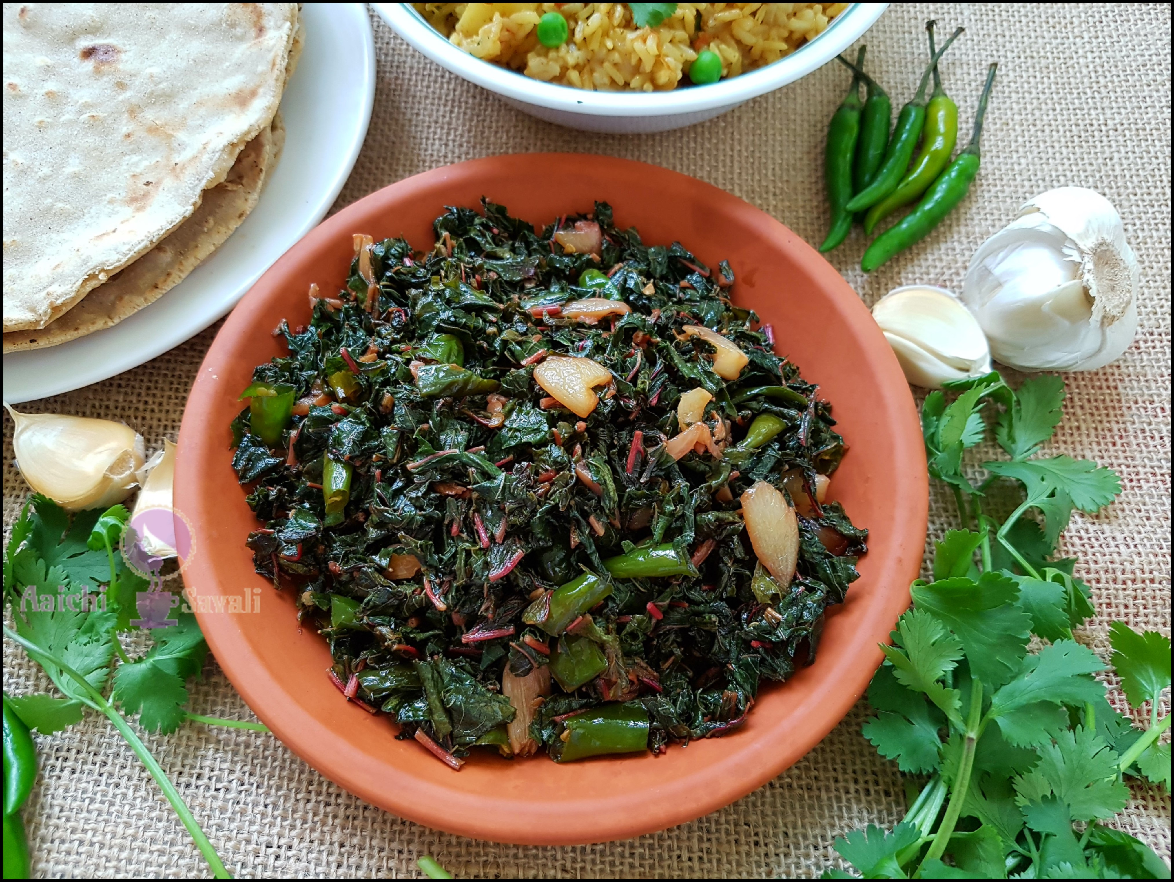 Red Spinach Leaves Stir Fry