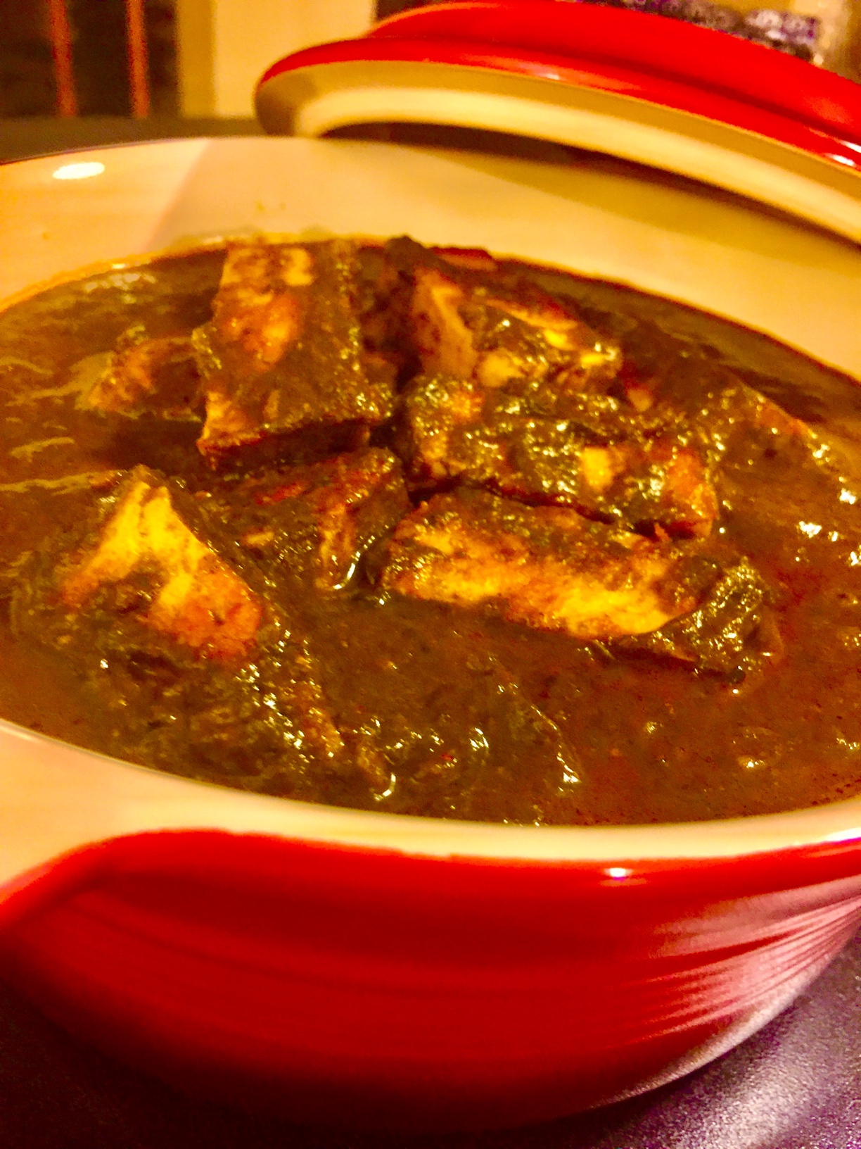 Palak Paneer | Indian Cottage Cheese in Spinach Sauce.