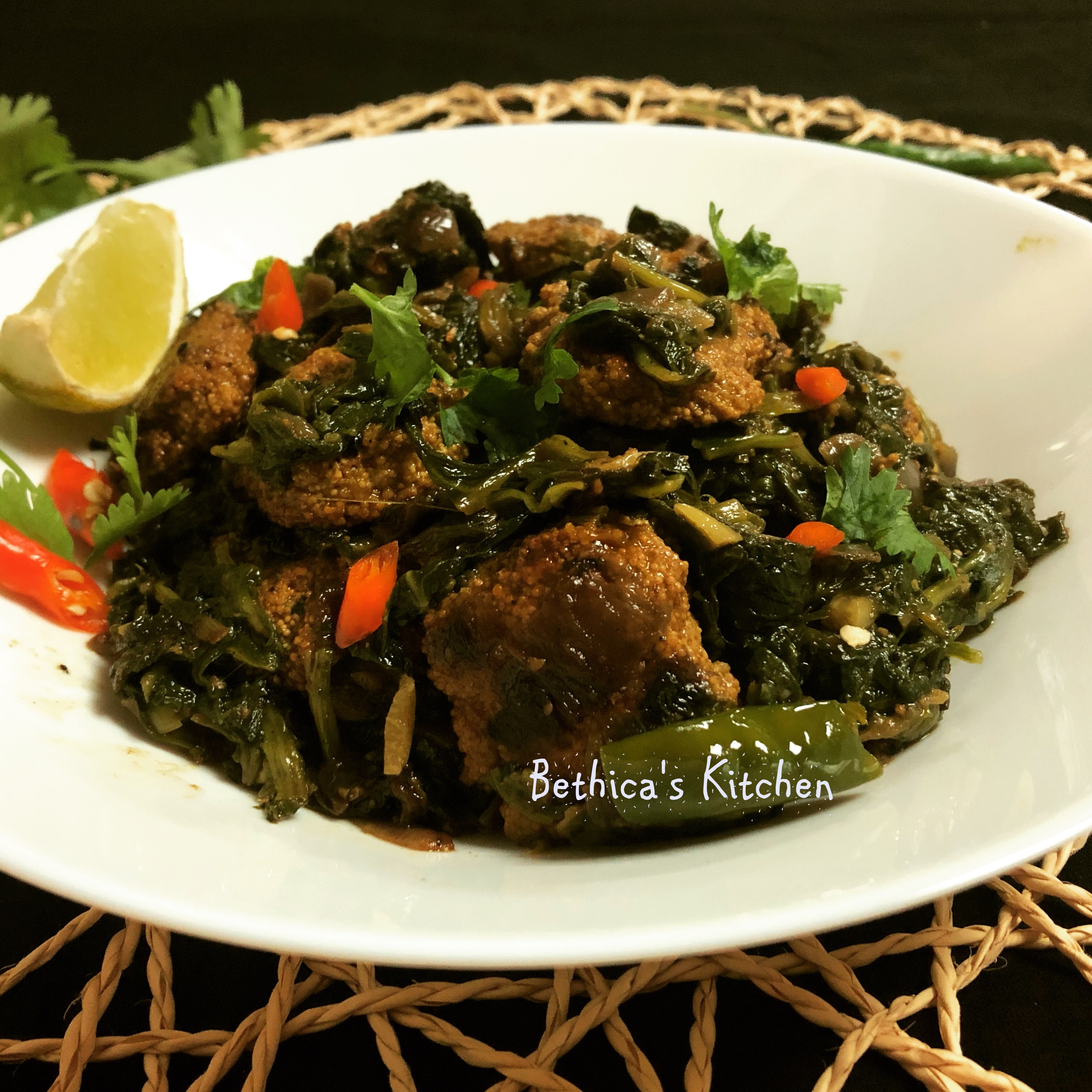 Spinach Stir Fry with Fish Egg Fritters