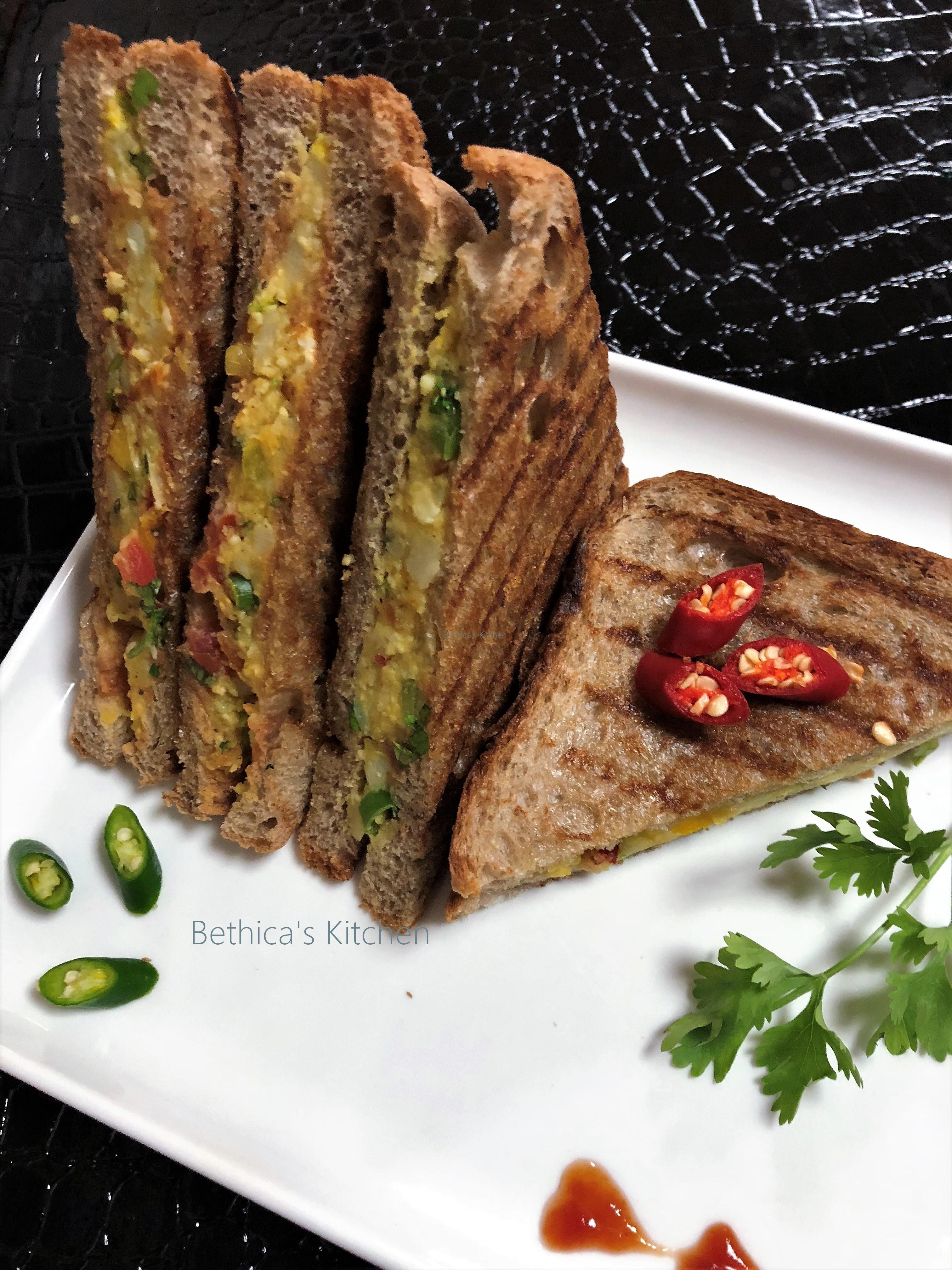 Pan Grilled Paneer Sandwich