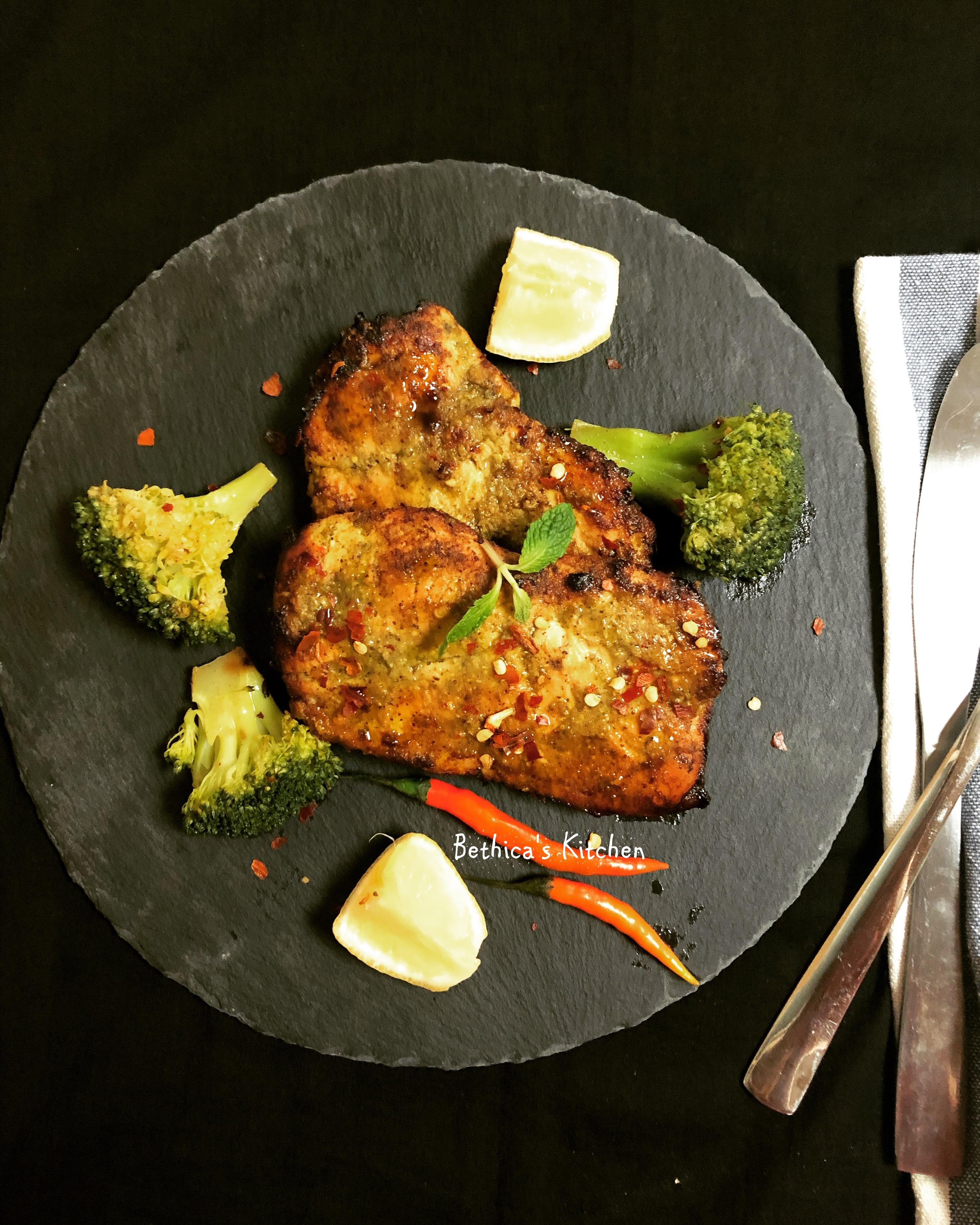 Grilled Chicken Steak with Green Chutney & Kasundi Flavour