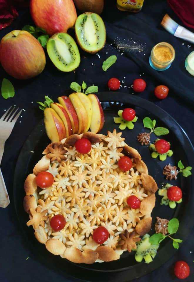 Rabri Apple  Kiwi Pie